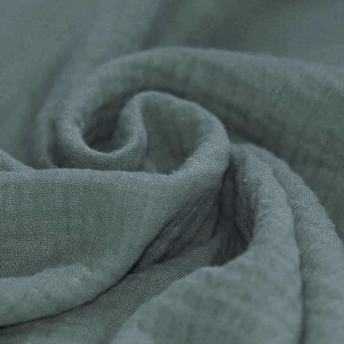 Tissus coton tissus uni Double gaze de coton vert sapin