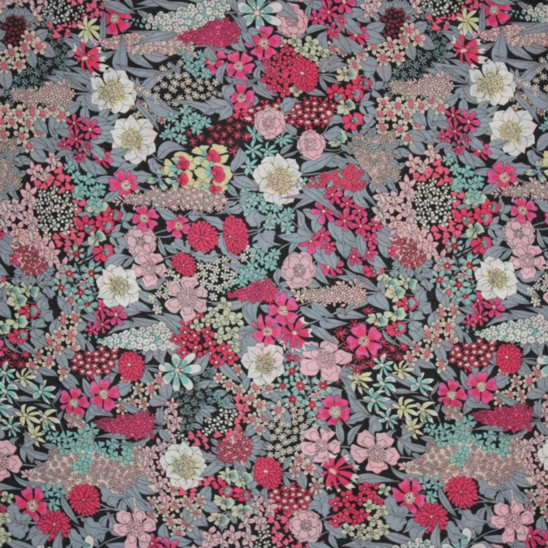 Tissu liberty fabrics tana lawn coton batiste fine jupe diyLiberty Ciara B coloris gris rose