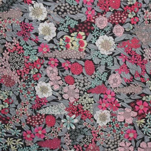 Tissu liberty fabrics tana lawn coton batiste fine blanc diy fait main handmade Liberty Ciara B coloris gris rose