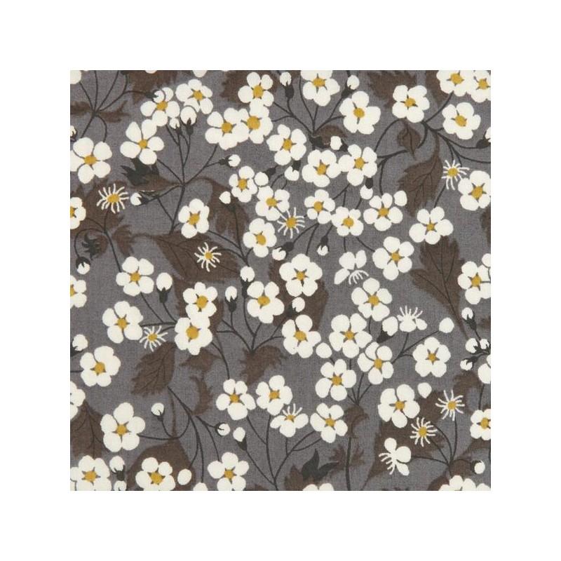 Tissu liberty fabrics tana lawn coton batiste fine Liberty Mitsi D coloris gris moutarde