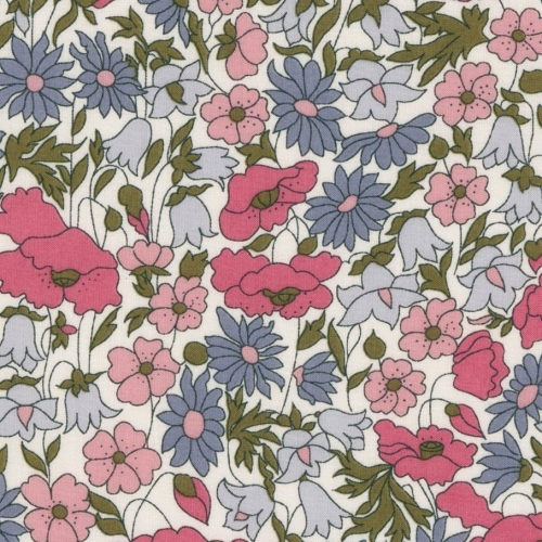 Liberty Poppy and daisy Hortensias nouveau coloris