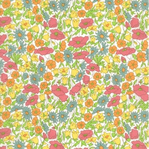 Tissu liberty pas cher à la coupe au metre Liberty Poppy and daisy exclusif gris orange