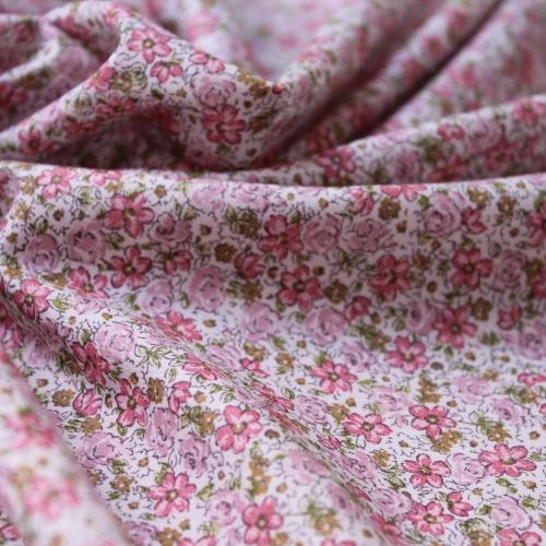 Tissu batiste de coton imprimé petites fleurs rose, vert ...