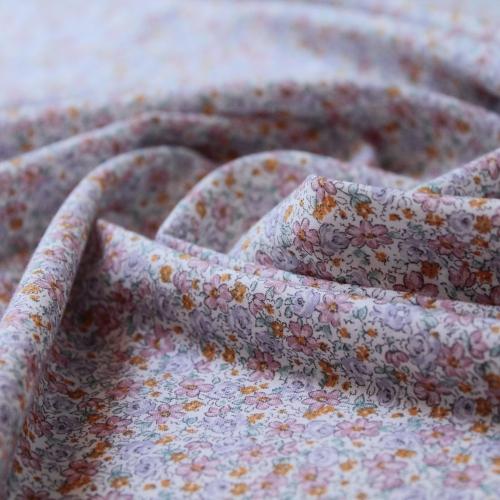Tissu batiste de coton petites fleurs rose, mauve...