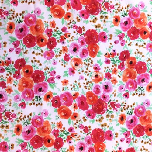 Tissu popeline de coton imprimé fleuri rouge, orange...