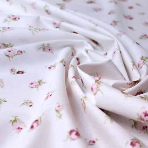 Tissu popeline de coton fond ivoire imprimé fleurs