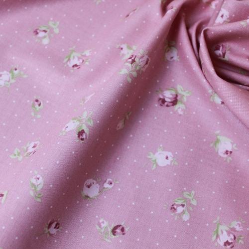 Tissu popeline de coton fond vieux rose imprimé fleurs