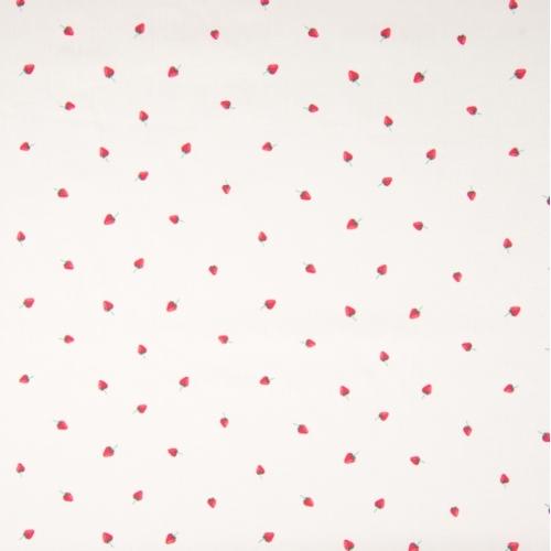 Tissu popeline de coton fond blanc imprimé petites fraises