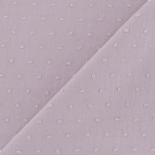 Plumetis de coton coloris figue givrée mauve parme
