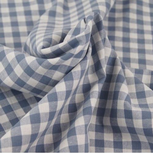 Tissu popeline de coton carreaux bleu jean et blanc