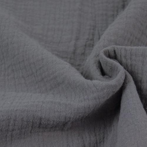 Double gaze de coton gris éléphant