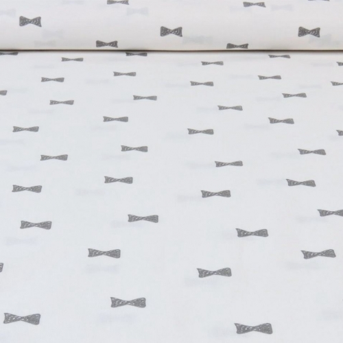 Popeline de coton fond blanc imprimé noeuds gris