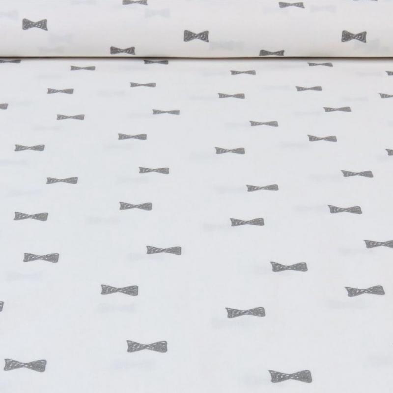 Tissu popeline de coton carreaux gris et blanc