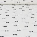 Popeline de coton fond blanc imprimé noeuds noir