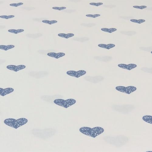 Popeline de coton fond blanc imprimé coeurs gris souris