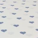 Popeline de coton fond blanc imprimé coeurs bleu jean