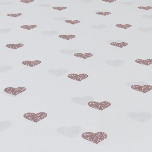 Popeline de coton fond blanc imprimé coeurs vieux rose