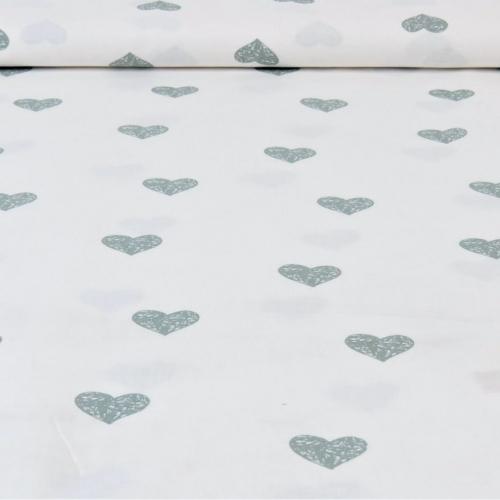 Popeline de coton fond blanc imprimé coeurs vert eucalyptus