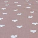 Popeline de coton fond vieux rose imprimé coeurs blanc
