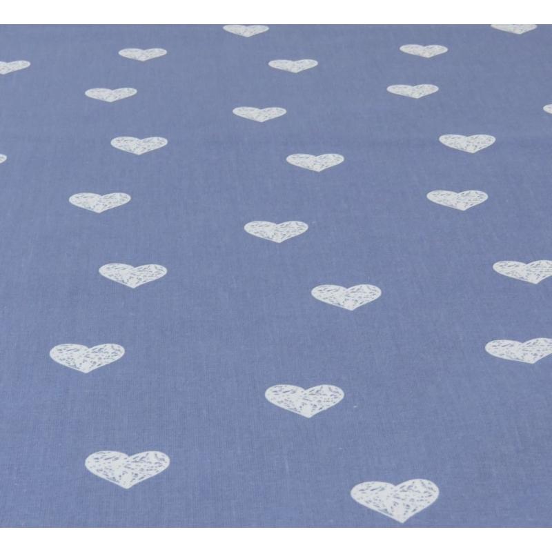 Popeline de coton fond gris souris imprimé coeurs blanc