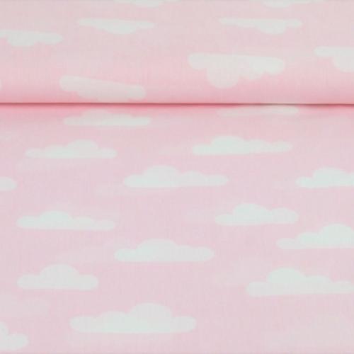 Popeline de coton fond rose dragée imprimé nuages blanc