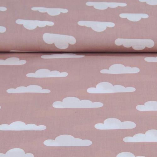 Popeline de coton fond vieux rose imprimé nuages blanc