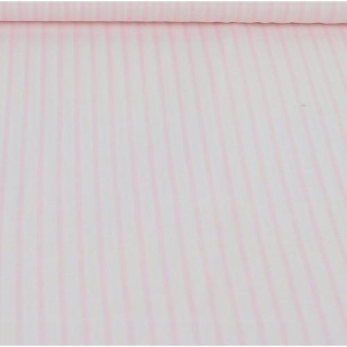 Popeline de coton rayé rose poudré blanc