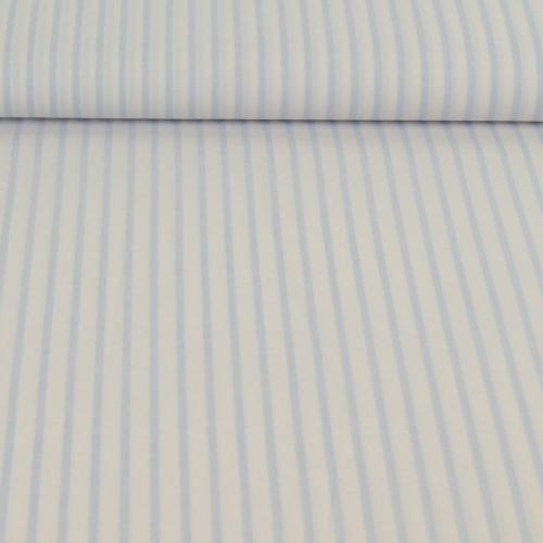 Popeline de coton rayée bleu poudré et blanc