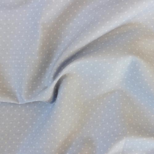 Popeline de coton bleu ciel pois blancs