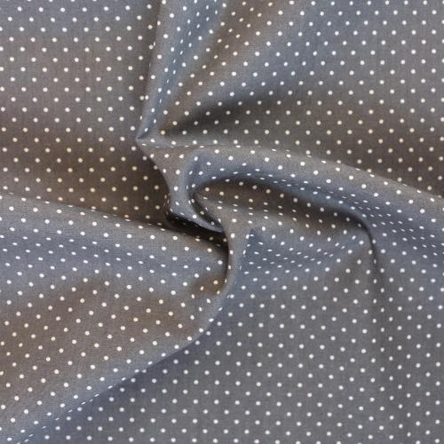 Popeline de coton gris souris pois blancs
