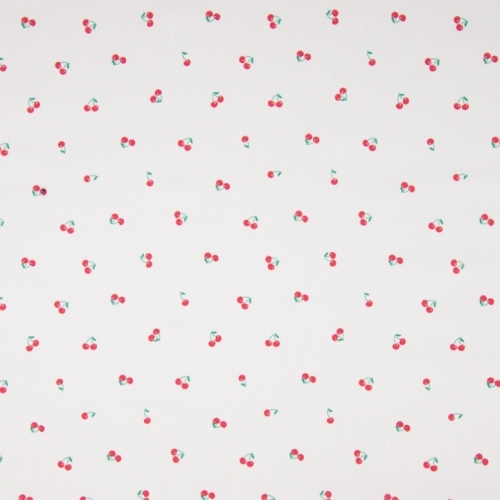 Tissu popeline de coton fond blanc imprimé petites cerises