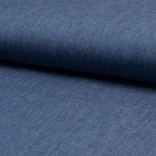 Chambray 100% coton uni bleu denim foncé