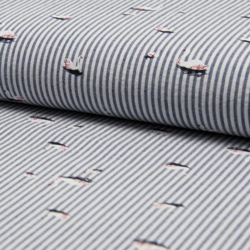 Seersucker coton rayures et motifs cygnes