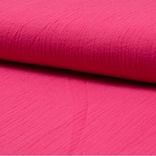 Gaze de coton uni coloris rose fuschia