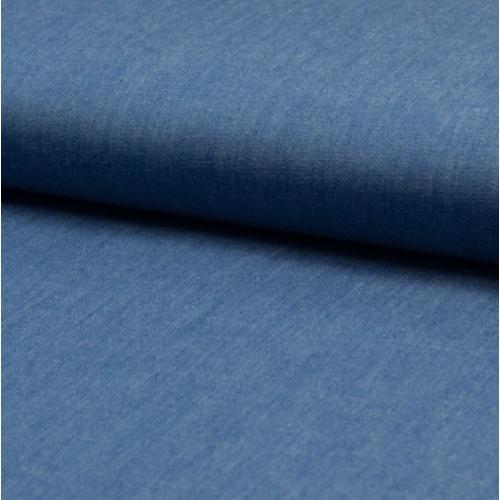 Chambray 100% coton uni bleu denim clair