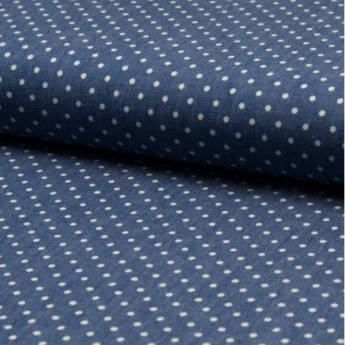 Chambray 100% coton motifs pois