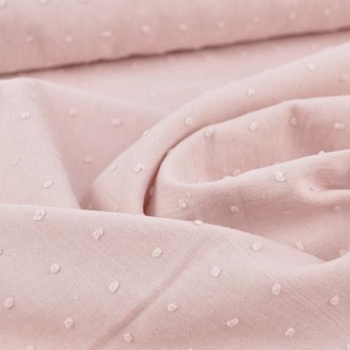 Plumetis de coton coloris rose poudré