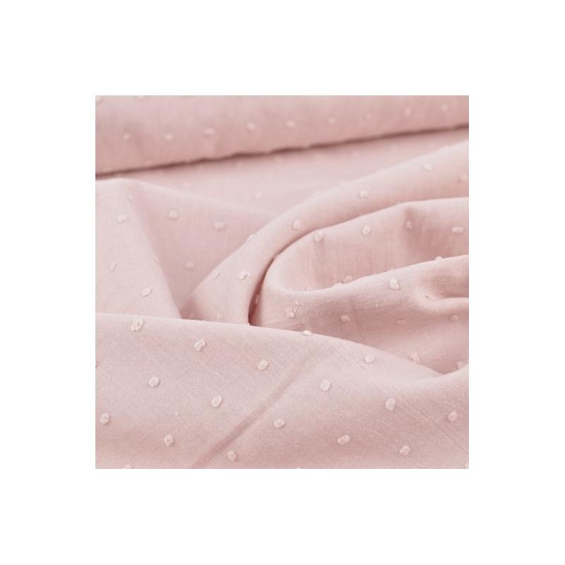 Plumetis de coton coloris rose clair poudré