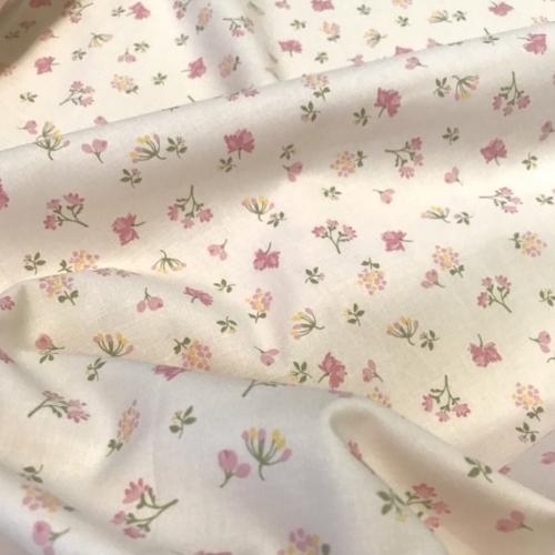 Tissu popeline de coton fond blanc imprimé fleurs gris et moutarde