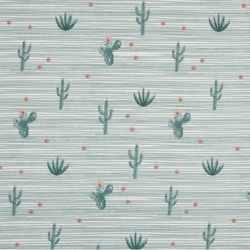 Tissu popeline de coton vert motifs cactus