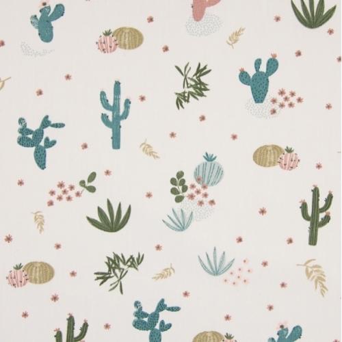 Tissu popeline de coton beige motif cactus