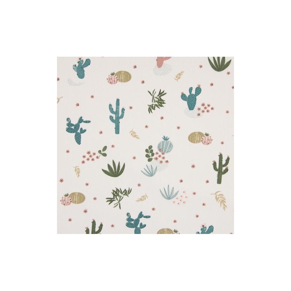 Tissu popeline de coton beige motifs cactus