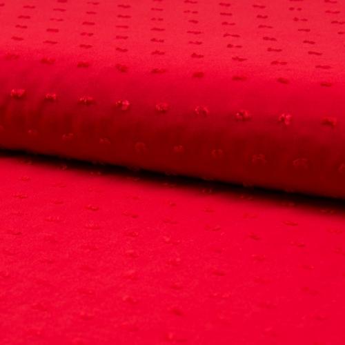 Tissu plumetis viscose rouge