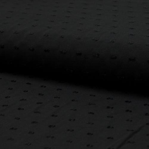 Tissu plumetis viscose noir