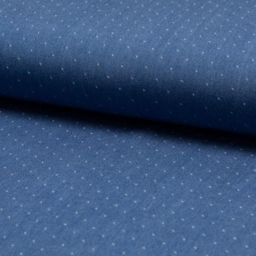 Tissu chambray tencel plumetis bleu jean moyen