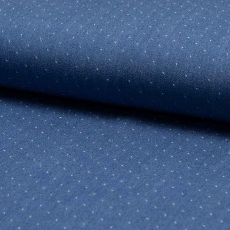 Tissu chambray tencel plumetis bleu jean clair