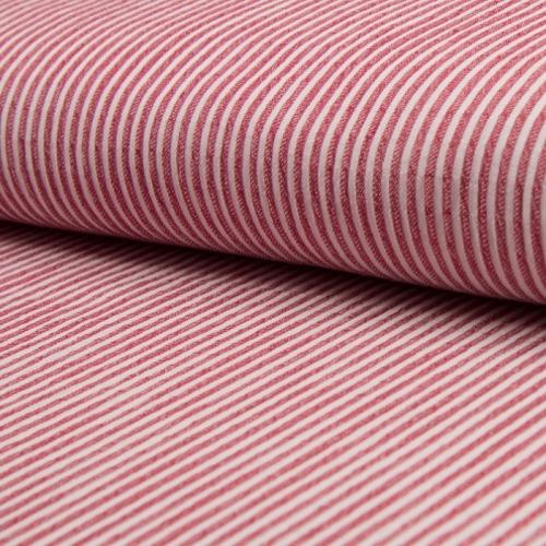 Tissu coton gaufré rayures rouge