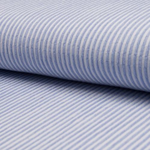 Tissu coton gaufré rayures bleu clair