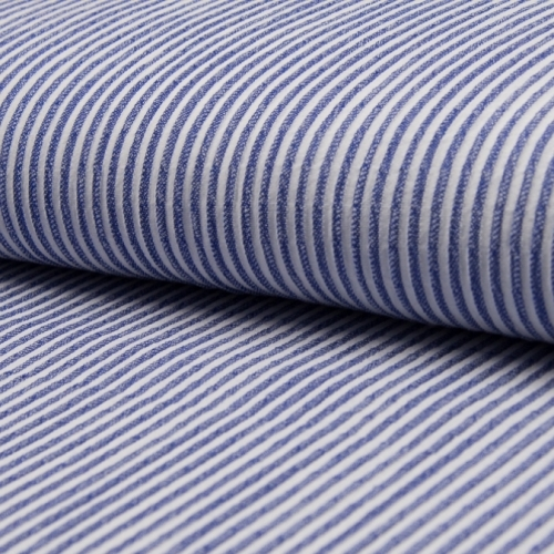 Tissu coton gaufré rayures bleu foncé