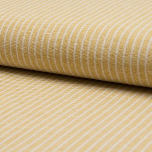 Tissu lin viscose à rayures jaune